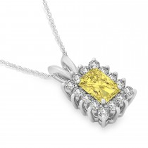 Emerald Shape Yellow Diamond & Diamond Pendant Necklace 14k White Gold (3.00ct)