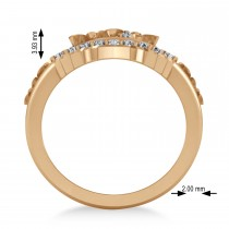 Ladies Diamond Antique Flower Cigar Ring 14k Rose Gold (0.27 ctw)