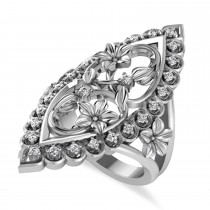 Ladies Diamond Antique Flower Cigar Ring 14k White Gold (0.27 ctw)