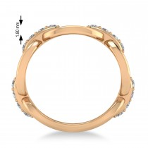 Ladies Diamond Novelty Link Ring in 14k Rose Gold (0.48 ctw)