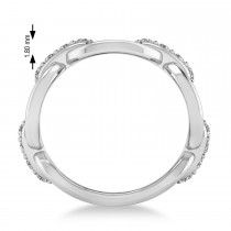 Ladies Diamond Novelty Link Ring in 14k White Gold (0.48 ctw)
