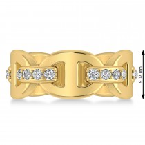 Ladies Diamond Novelty Link Ring in 14k Yellow Gold (0.48 ctw)