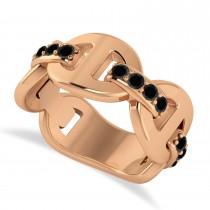 Ladies Black Diamond Novelty Link Ring in 14k Rose Gold (0.48 ctw)