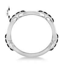 Ladies Black Diamond Novelty Link Ring in 14k White Gold (0.48 ctw)