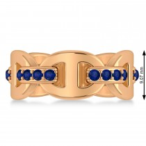 Ladies Blue Sapphire Novelty Link Ring in 14k Rose Gold (0.48 ctw)