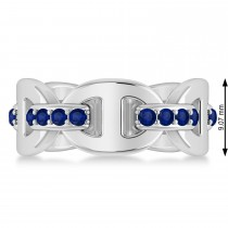 Ladies Blue Sapphire Novelty Link Ring in 14k White Gold (0.48 ctw)