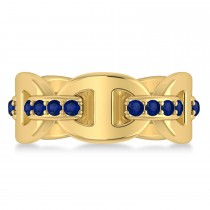 Ladies Blue Sapphire Novelty Link Ring in 14k Yellow Gold (0.48 ctw)