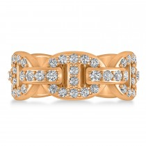 Diamond Accented Ladies Diamond Link Ring in 14k Rose Gold (1.20 ctw)