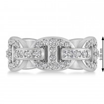 Diamond Accented Ladies Diamond Link Ring 14k White Gold (1.20 ctw)