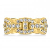Diamond Accented Ladies Diamond Link Ring 14k Yellow Gold (1.20 ctw)
