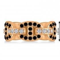Black & White Diamond Link Ring 14k Rose Gold (1.20 ctw)
