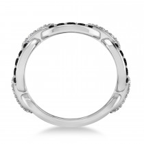 Black & White Diamond Link Ring 14k White Gold (1.20 ctw)