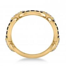Black & White Diamond Link Ring 14k Yellow Gold (1.20 ctw)