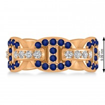 Diamond Accented Ladies Blue Sapphire Link Ring 14k Rose Gold (1.20 ctw)