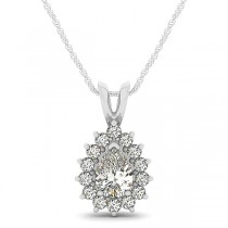 Pear-Cut Diamond Halo Teardrop Pendant Necklace 14k White Gold 1.03ct
