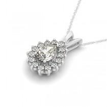 Pear-Cut Diamond Halo Teardrop Pendant Necklace 14k White Gold 1.03ct|escape