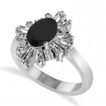 Black Diamond Oval Cut Ballerina Engagement Ring 14k White Gold (2.51 ctw)