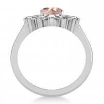 Morganite & Diamond Oval Cut Ballerina Engagement Ring 14k White Gold (3.06 ctw)