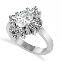 Moissanite & Diamond Oval Cut Ballerina Engagement Ring 14k White Gold (2.59 ctw)