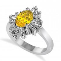 Yellow Sapphire & Diamond Oval Cut Ballerina Engagement Ring 14k White Gold (3.06 ctw)