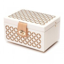 WOLF Chloe Small Jewelry Box in Cream Pattern Leather