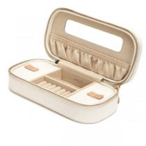 Wolf Designs Chloe Zip Jewelry Case Box in Cream Pattern Leather