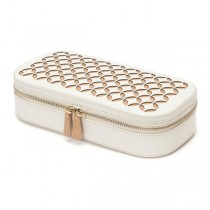 WOLF Chloe Zip Jewelry Case Box in Cream Pattern Leather