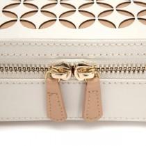 WOLF Chloe Zip Jewelry Case Box in Cream Pattern Leather