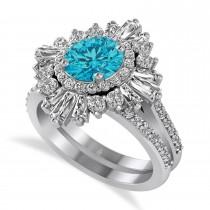 Blue Diamond & Diamond Ballerina Engagement Ring 14k White Gold (2.74 ctw)
