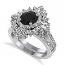 Black Diamond & Diamond Ballerina Engagement Ring 14k White Gold (2.74 ctw)