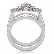 Morganite & Diamond Ballerina Engagement Ring 14k White Gold (2.74 ctw)