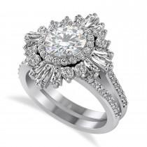 Moissanite & Diamond Ballerina Engagement Ring 14k White Gold (2.74 ctw)