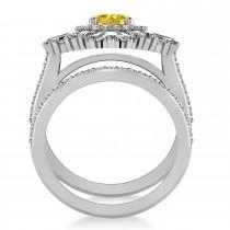 Yellow Sapphire & Diamond Ballerina Engagement Ring 14k White Gold (2.74 ctw)
