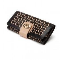 WOLF Chloe Jewelry Roll Case in Black Pattern Leather
