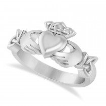 Solid Claddagh and Celtic Ring 14k White Gold
