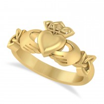 Solid Claddagh and Celtic Ring 14k Yellow Gold