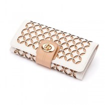 WOLF Chloe Jewelry Roll Case in Cream Pattern Leather