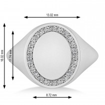 Customizable Diamond Halo Signet Ring Engravable 14k White Gold (0.24 ctw)