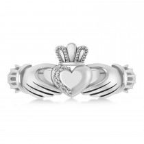 Diamond Claddagh Ladies Ring 14k White Gold (0.05ct)