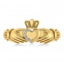 Diamond Claddagh Ladies Ring 14k Yellow Gold (0.05ct)