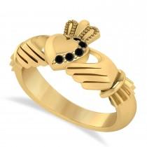 Black Diamond Claddagh Ladies Ring 14k Yellow Gold (0.05ct)