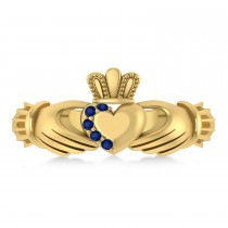 Blue Sapphire Claddagh Ladies Ring 14k Yellow Gold (0.05ct)