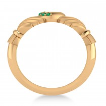 Emerald Claddagh Ladies Ring 14k Rose Gold (0.05ct)