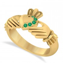 Emerald Claddagh Ladies Ring 14k Yellow Gold (0.05ct)