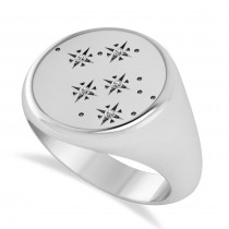 Men's Diamond Constellation Signet Ring in 14k White Gold (0.03 ctw)