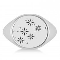 Men's Diamond Constellation Signet Ring 14k White Gold (0.03 ctw)