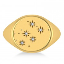 Men's Diamond Constellation Signet Ring 14k Yellow Gold (0.03 ctw)