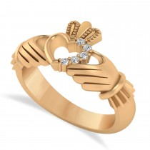 Diamond Claddagh Ladies Ring with Hollow Heart 14k Rose Gold (0.05ct)