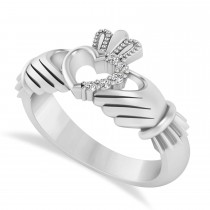Diamond Claddagh Ladies Ring with Hollow Heart in 14k White Gold (0.05ct)