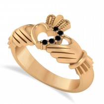 Black Diamond Claddagh Ladies Ring with Hollow Heart 14k Rose Gold (0.05ct)